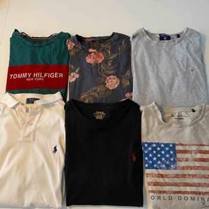 5 t-shirts och en piké från olika märken. Från vänster uppe: (Grön) Tommy Hilfiger, (blommig) Jack&Jones, (Grå) Gant, (Vit) Ralph Lauren, (Svart) Ralph Lauren, (Beige) Bondelid. Plaggen är i superbra skick!
