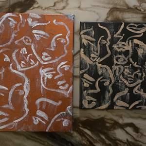 """Handgjorda tavlor: Stora,""""Denise"""": 40x30cm 300kr🗣  Lilla,""""Katrin"""": 30x25cm 200kr 🗣 Frakt tillkommer.🤍 #art"""
