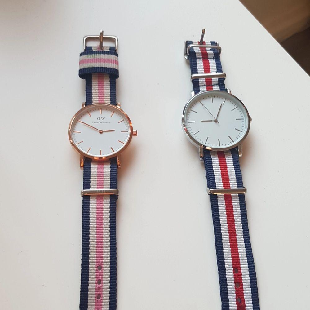 1 Daniel wellington klocka (äkta). 1 vanlig klocka. Båda klockorna är i fint skick men batterierna är slut. Båda för 150 kr. Bud?. Accessoarer.