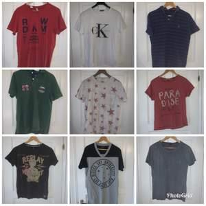 Diverse T-shirt i märkena; Tommy hillfiger, replay, diesel, G-Star, Calvin clein mm. De är i storlek small/medium (herr), fråga vid intresse! Paketpris 500kr+frakt