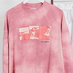 Rosa oversized tröja med coolt tryck på💕  sparsamt använd