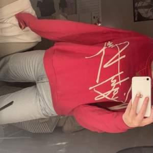 En fin ganska mörkrosa sweatshirt som är väldigt skön och passar många storlekar