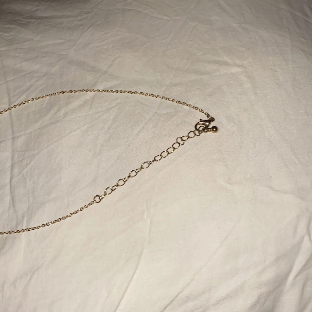 Halsband med ros som hänge, använt fåtal gånger! Fint skick!! Ca 52cm på längsta snäppet.. Accessoarer.