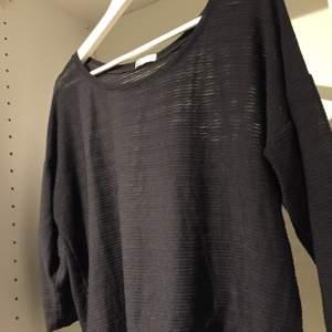 Svart långärmad tröja, en aning genomskinlig. Bra skick, använd en eller två gånger. Väldigt bekväm!