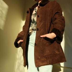 Vintage Spring/Autumn coat, deep brown, fake suede fluffly, warm and soft