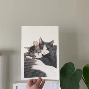 Målar för det mesta djurporträtt, men är öppen för andra beställningar. Dessa målas med akvarell på papper av hög kvalitet. Storlek och övriga detaljer anpassas utifrån dina önskemål.  Pris för målning (beroende på motiv) på: - A5: 250 kr + porto (24 kr) - A4: 350 kr + porto (24kr)