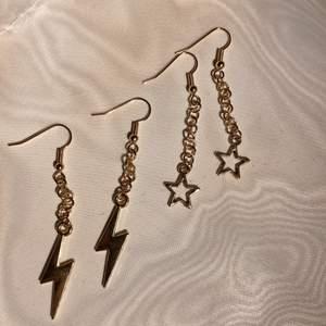 Säljer fina egengjorda smycken till ett bra pris! Nu kan du köpa dessa stjärnörhängen för 59kr och blixtörhängen för 69kr i guld! Är du intresserad av mer smycken och hemmagjorda virkade kläder följ min Instagram @crochet.by.o