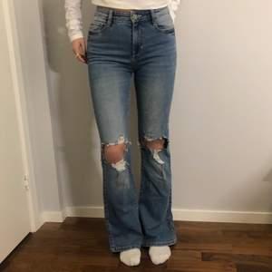 Skitfräscha jeans med slitningar som knappt är använda, passar XS-S & möjligtvis M, jag är 165 och de är långs på mig, hör av er vid frågor!
