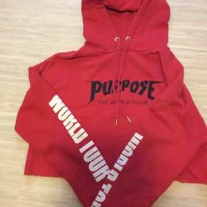 Röd Justin Bieber purpose world tour Crop top hoodie storlek S