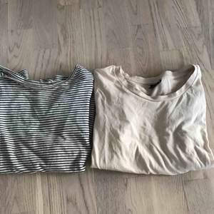 Randig T-shirt från zara, strl S. Beige T-shirt från Gina tricot strl XS. Knappt använda. Få två för priset av 15kr! (Plus frakt på 15kr)