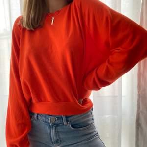 En orange sweatshirt från bikbok. Inte särskilt tjock men väldigt mjuk.