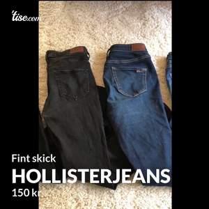 Hollisterjeans säljes: Båda är högmidjade och skinny, Från vänster:  1. Hollister, stl W26, L30- 150 kr   2. Hollister, stl w27 L30 - 180 kr   Skickas mot fraktkostnad.  För fler jeans, se mina andra annonser.