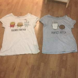 Jag säljer båda dessa t-shirts från newyorker. Den vita är strl s och den blåa är strl xs. Man kan även bara välja en utav dessa, isåfall kastar en 30kr