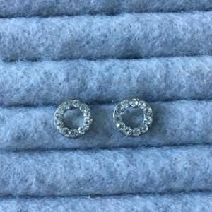 Silvriga cirkel örhängen med strassar, relativt använda. Alla smycken desinficeras innan köp! Se profil för fler annonser😋✨