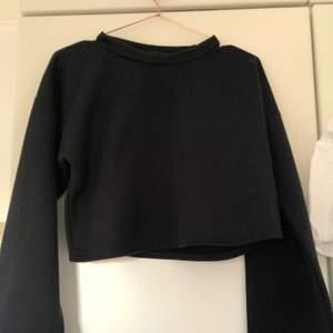 En croppad svart sweatshirt. Den är lite högre i halsen men inte turtleneck. Aldrig använd. Frakt tillkommer och priset är förhandlingsbart.