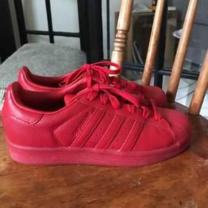 Röda skor i adidas superstar modell, använda ute en gång. Har normalt 37 i skostorlek och dem passar mig.