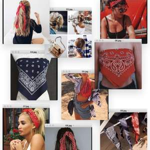 Bandana som kan användas till såå mycket, hårband, tröja, scarf, tofs mm. Har i röd, svart och marinblå! 50kr styck! Priset går att diskutera❤️ (Röda är såld)