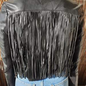 Leather look jacket with fringe - from River Island - size 10/36
