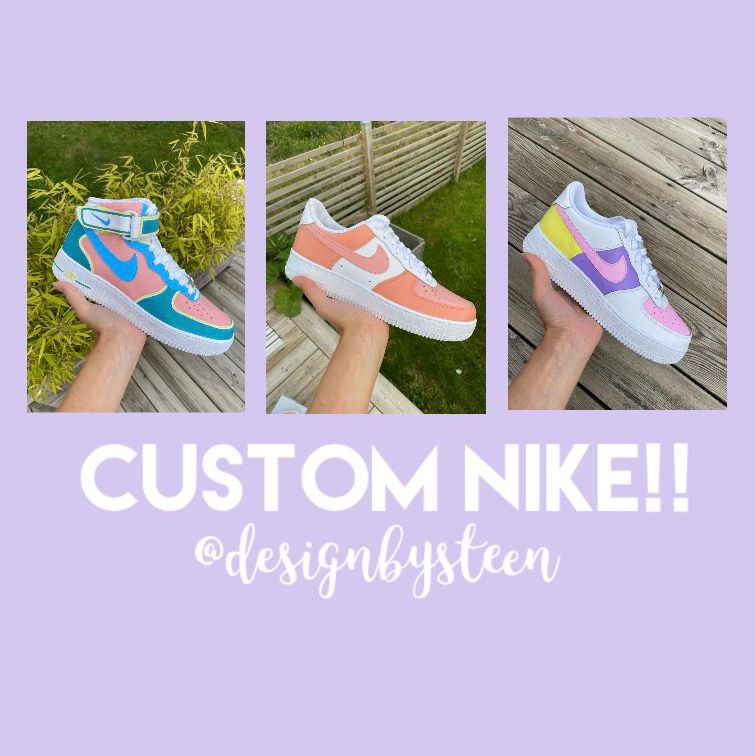 Jag tar nu emot beställningar av custom designade Nike air force! Du kan välja själv vilken design du vill ha, samt vilken storlek du behöver. Skorna är helt nya och jag använder mig av den bästa färgen på marknaden. Hör av dig om du har några frågor💓💓. Skor.