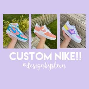 Jag tar nu emot beställningar av custom designade Nike air force! Du kan välja själv vilken design du vill ha, samt vilken storlek du behöver. Skorna är helt nya och jag använder mig av den bästa färgen på marknaden. Hör av dig om du har några frågor💓💓