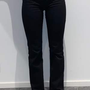 Svarta högmidjade jeans från Wrangler i modell flare. Typiska 70-tals-framfickor, väldigt sköna i materialet. (Nypris 900kr). Frakt ej inkluderat i priset, köparen står för frakt. Frakten kan vara annan än angivet, skriv för exakt pris. Skriv även för fler bilder!