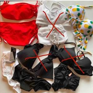 Oanvända bikinis från bland annat Shein, Nelly och Hm. 50kr/st. Mixa och matcha hur du vill.  PM för mer info eller bilder.   Frakt betalas av köparen.