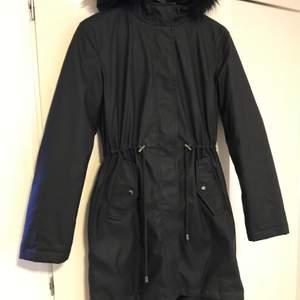 black coat with fur hat  size 32-34