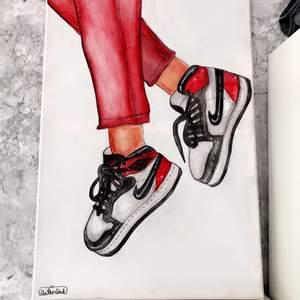 Jag säljer Nike jordans tavlor som du får välja storlek, färger, hudfärg, etc. Det är denna design jag gör. ✨hör av dig om du är intresserad✨💕PRIS  DISKUTERAS ENSKILLT I DM💕✨KÖPARE STÅR FÖR FRAKTEN✨💕