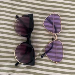 Två par solglasögon i använt skick, säljes pga inte riktigt min stil💕 båda från hm!! 10kr+frakt för båda