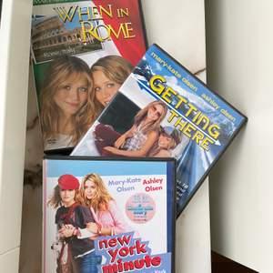 Hör upp alla 90s / 2000s fans- säljer 3 DVD filmer med Mary-Kate och Ashley Olsen! Styckvis för 100 kronor, annars 250 för alla 3. Kostar 200 kronor/ st överallt, så ett kap! Ärvda från 2000 talet 🥰🥰