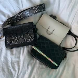 Tre fina väskor som inte längre används. Kan skicka fler bilder privat💕💕 väskan i ormskinn är såld!