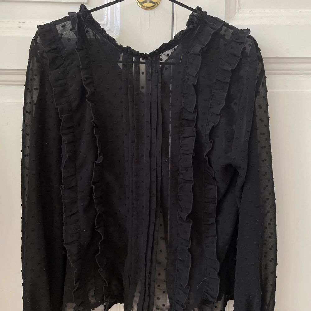 Sååå fin svart mesh blus från Zara med prickar på. Jättefina ärmar som syns på bild 3. Storlek 38 men sitter jättefint på mig också som vanligtvis har 36. Köpt begangad i fint skick och använd 2 gånger av mig. Knappen längst upp på baksidan är borta, jag har använt en säkerhetsnål när jag använt den. Köparen står för frakt 💖. Blusar.