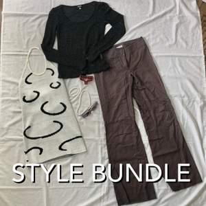 Style Bundle gjord av mig 😍 All information om vad som ingår hittar du på sista bilden. Var god låt det ta MAX ca 2 veckor för jag vill hitta det absolut bästa av det bästa för just dig 💖                                                                                           - Kläderna på bilden är inte till salu utan det är tidigare style bundles som jag har gjort, men jag kan absolut hitta liknade plagg till ditt klädpaketet
