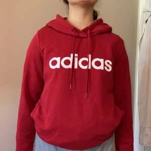 Vinröd Adidas hoodie med en ficka vid magen. Modellen är 160.