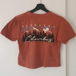 En t-shirt från Urban Outfitters, med ett tryck på ryggen och ett litet broderi I fram på bröstet. Första bilden visar alltså tröjans rygg. I mycket bra skick! Storlek S, passar även XS.