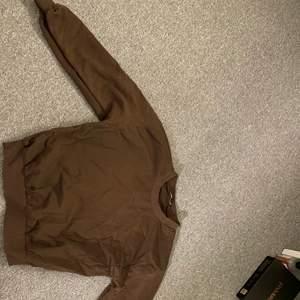 En brun sweatshirt ifrån zara! Jättefin men beställde fel storlek! Storlek S, men passar även xs och M beroende på hur man vill ha den!🥰 säljer för 150kr + frakt! Pris kan diskuteras!🥰
