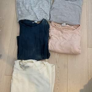 Många olika långarmad tröjor. Från olika affärer, hm, monki och veromoda. Olika storlekar, mellan xs-m. Den blåa/ gråa tröjan från monki ser lite stentvättade ut och är hur cool som helst (se bild 2 och 3) alla för 80 eller en för 40.