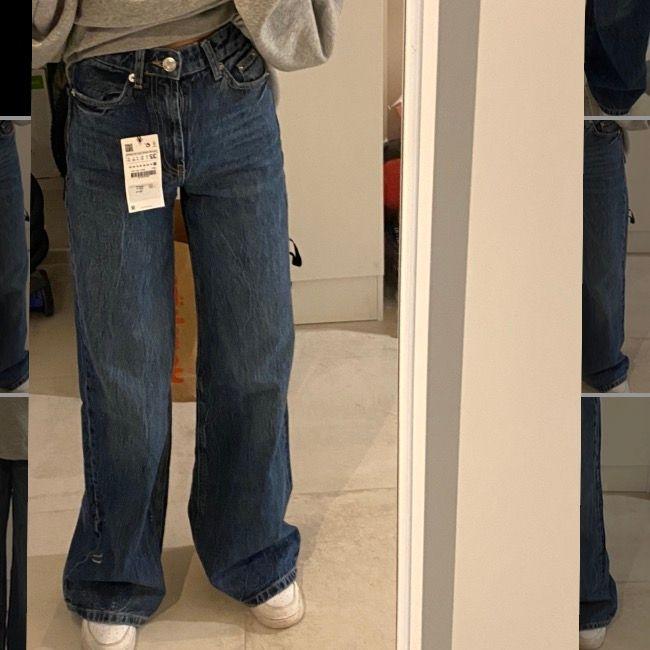 Ett par super snygga mörkblåa jeans Var tyvärr för långa på mig ( är 163cm). Helt oanvända och  köpta för 400kr!! Köparen står för frakten. 295kr💗. Jeans & Byxor.