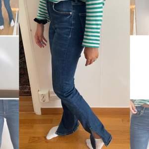 Jättepopulära slutsålda jeans med slits från Zara som ser precis ut som den gråa modellen! Säljer då dom tyvärr inte kommer till användning längre. Passar allt från 34-40 då dom är mycket stretchiga. Buda från 250kr! 💕🦋