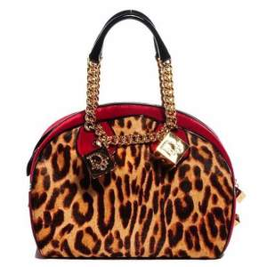 CHRISTIAN DIOR Calf Hair Leopard Velour Gambler Dice Bowler.  John Galliano for Christian Dior leopard and red velvet Gambler hand bag with giant gold tone