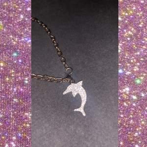 Delfinformad äkta silver armband med guld på baksidan