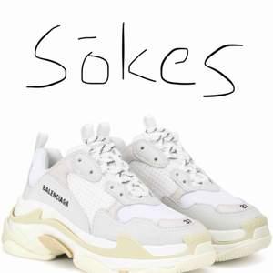 SÖKES!   Söker ett par Balenciaga sneakers i vitt som på bilden. Äkta eller fake spelar ingen roll.