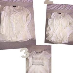 1- vit blus med fina detaljer. Storlek M, 40kr.  2- tröja/blus med knytning och utsvängda ärmar, storlek M, 45kr. 3- t-shirt med silvrig text, storlek S, 30kr