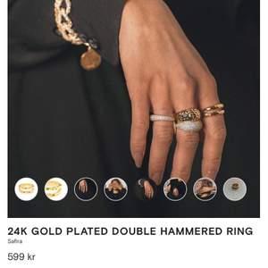 24k Gold Plated Double Hammered Ring. Jättefin ring som är helt oanvänd. Frakten ingår💗