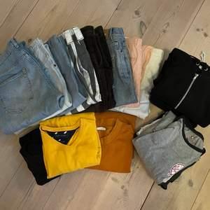 Säljer alla möjliga plagg Från - Tiger of sweden - Dickies - Weekday - Tommy Hilfiger - American apparel   8 par byxor 2 Hoodies 3 långärmade tröjor 3 tjocktröjor  Produkter kan säljas separat  Allt för 1000kr