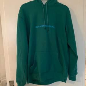 mörkgrön/mörkturkos hoodie med blått tryck från junkyard, storlek S. nypris 299kr, fint skick. frakt ingår! 🤎