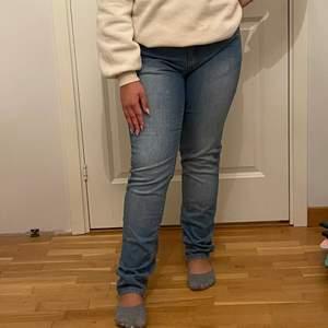 Ljusa blåa jeans ifrån Ellos. Använd fåtal gånger så i mycket bra skick. Modellen är 154cm lång (långa på henne) och bär 38-40 i jeans.
