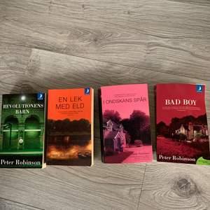 4 st Pocket böcker. Författare Peter Robinson. 50kr för alla eller 60kr st. Böckerna ligger inte i ordning då jag har noll koll på böcker. För mer info så är det bara att skriva till mig