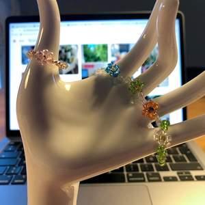 Hemmagjorda ringar i ståltråd och glaspärlor. Säljer fler modeller. Skicka omkretsen av ditt finger, modell och färger. Frakten är inkluderat i priset! Obs, den första ringen kommer bli dyrare, jag har fåtal rosa pärlor kvar