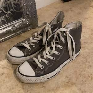 Ett par converse skor i färgen mörkgrå och storlek 39. De är använda men i väldigt bra skick och helt rena. Köparen står för fraktkostnaden, kontakta för fler frågor och bilder❤️